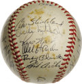Autographs:Baseballs, 1956 Cleveland Indians Team Signed Baseball. Under Hall of Famemanager Al Lopez, the 1956 Cleveland Indians finished secon...