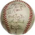 Autographs:Baseballs, 1972 Oakland A's Team Signed Baseball. World Championship sphereoffers an impressive full roster of thirty-three signature...