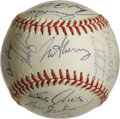 Autographs:Baseballs, 1976 California Angels Team Signed Baseball. Twenty-eightsignatures appear on the offered OAL (MacPhail) orb from the1976...