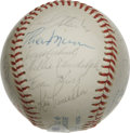 Autographs:Baseballs, 1976 New York Yankees Team Signed Baseball. The 1976 Yankees rodethe MVP performance of their newly anointed captain, Thur...