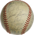 Autographs:Baseballs, 1980 Milwaukee Brewers Team Signed Baseball. What we present hereis an OAL (MacPhail) orb which has been adorned with 21 s...