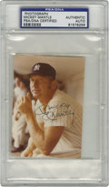 "Autographs:Photos, Mickey Mantle Signed Photograph. Great color portrait (3x4"") of theMick in the dugout bears a 10/10 blue ink signature. E..."