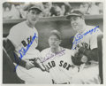 Autographs:Photos, Ted Williams with Joe & Dom DiMaggio Signed Photograph. Asbrother fought brother in America's Civil War, so did the game o...