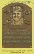 Autographs:Post Cards, Walt Alston Signed Gold Hall of Fame Plaque. Hall of Fame managerWalt Alston provides a quality ink signature to the front...