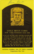 Autographs:Post Cards, Earle Combs Signed Gold Hall of Fame Plaque. Perfect 10/10 ink signature has been applied by Hall of Fame centerfielder Ear...