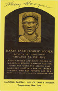 Autographs:Post Cards, Harry Hooper Signed Gold Hall of Fame Plaque. Red Sox and White Soxlegend Harry Hooper was the only man who played on four...