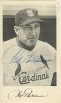 Autographs:Post Cards, 1950's Fred Hutchinson Signed Postcard. The St. Louis Cardinalsmanager applies his 10/10 blue ink signature to an unused p...