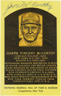 Autographs:Post Cards, Joe McCarthy Signed Gold Hall of Fame Plaque. Hall of Fame skipperJoe McCarthy makes this gold Hall of Fame plaque postcar...
