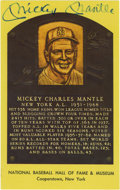 Autographs:Post Cards, Mickey Mantle Signed Gold Hall of Fame Plaque. Tremendous example of the Mick's desirable signature appears on the offered ...