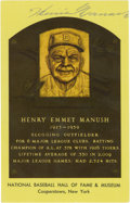 Autographs:Post Cards, Heinie Manush Signed Gold Hall of Fame Plaque. A terror with thebat who won the AL batting title in 1926, HOFer Heinie Man...