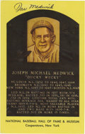 """Autographs:Post Cards, Joe Medwick Signed Gold Hall of Fame Postcard. Integral part of the hallowed St. Louis Cardinals """"Gashouse Gang"""" teams, Coo..."""