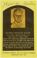 "Autographs:Post Cards, George Sisler Signed Gold Hall of Fame Plaque. Once called by TyCobb ""the nearest thing to a perfect ballplayer,"" George S..."
