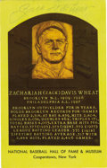 Autographs:Post Cards, Zach Wheat Signed Gold Hall of Fame Plaque. The Hall of Famer ZachWheat has signed the Cooperstown-issued gold plaque we s...