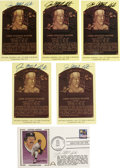 Autographs:Post Cards, Jim Catfish Hunter Signed Gold Hall of Fame Plaques Lot of 5 withSigned First Day Cover. Excellent collection here of sign...