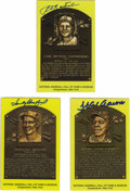 Autographs:Post Cards, Signed Gold Hall of Fame Plaques Lot of 3. Three of the most beloved ballplayers appear here with the trio of signed gold H...