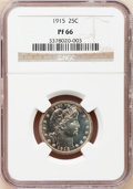 Proof Barber Quarters: , 1915 25C PR66 NGC. NGC Census: (24/17). PCGS Population (12/8). Mintage: 450. Numismedia Wsl. Price for problem free NGC/PC...