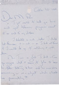 "Autographs:U.S. Presidents, Jacqueline Kennedy Autograph Letter Signed. Two pages (recto andverso), 5.25"" x 8"", n.p., October 10, 1966, addressed to Ja..."