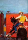 Pulp, Pulp-like, Digests, and Paperback Art, REMINGTON SCHUYLER (American, 1884-1955). Rearing at the Train,western pulp cover. Oil on canvas. 34 x 24 in.. Signed l...
