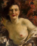 Mainstream Illustration, Attributed to HOWARD CHANDLER CHRISTY (American, 1872-1952).Portrait of a Nude. Oil on canvas. 17 x 14 in.. Notsigned...