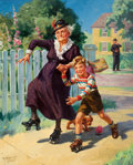 Mainstream Illustration, HY (HENRY) HINTERMEISTER (American, 1897-1972). Skating withGranny. Oil on canvas. 30 x 24 in.. Signed lower left....