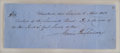 "Autographs:U.S. Presidents, James Buchanan Manuscript Check entirely in Buchanan's hand. 7.75""x 3"", April 5, 1852. The manuscript check is drawn on the..."
