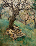 Mainstream Illustration, HOWARD CHANDLER CHRISTY (American, 1872-1952). Applewood-Cut andSplit, 1935. Oil on canvas laid on board. 19.5 x 15.5 i...