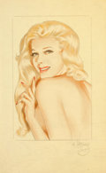 Pin-up and Glamour Art, ALBERTO VARGAS (American, 1896-1982). Blonde Pin-Up, Esquiremagazine illustration. Pencil and watercolor on paper. 11 x...