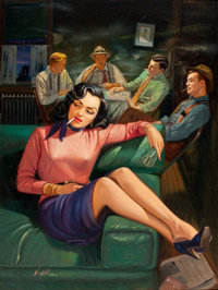 RUDY NAPPI (American, b. 1923) Gang Moll, paperback digest cover, 1952 Oil on board 16 x 12.25 in