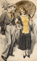 Mainstream Illustration, JAMES MONTGOMERY FLAGG (American, 1877-1960). A Stroll in thePark. Watercolor on board. 22 x 13.5 in.. Signed lower lef...