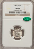 Barber Dimes: , 1909-O 10C MS63 NGC. CAC. NGC Census: (19/43). PCGS Population(19/51). Mintage: 2,287,000. Numismedia Wsl. Price for probl...