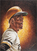 Baseball Collectibles:Others, 1973 Roberto Clemente Original Artwork Presented to PittsburghPirates....