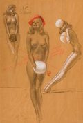 Pin-up and Glamour Art, EARL MACPHERSON (American, 1910-1993). Three Nudes. Pasteland charcoal on paper. 27 x 18 in.. Signed lower right. F...