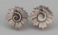 Silver Smalls:Other , A PAIR OF DANISH SILVER EARRINGS . Georg Jensen, Inc., Copenhagen,Denmark, circa 1933-1944. Marks: GJ, 625 S, STERLING DE...(Total: 2 Items)