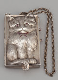 Silver Smalls:Other , A CONTINENTAL SILVER, SILVER GILT AND GARNET CAT-FORM COMPACT .Maker unidentified, circa 1920. Marks: L (rooster) K,...