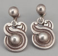 Silver Smalls:Other , TWO PAIRS OF MEXICAN SILVER EARRINGS. William Spratling, Taxco,Mexico. Hector Aguilar, Taxco, Mexico, circa 1950. Marks: ...(Total: 4 Items)