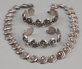 Silver Smalls:Other , A MEXICAN SILVER NECKLACE AND TWO CUFFS . Los Castillo, Taxco,Mexico, circa 1940-1945. Marks: LOS CASTILLO, STERLING, (...(Total: 3 Items)