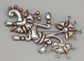 Silver Smalls:Other , AN MEXICAN SILVER AND COPPER BROOCH . William Spratling, Taxco,Mexico, circa 1940-1946. Marks: WS (conjoined),SPRATL...