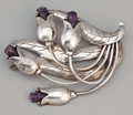 Silver Smalls:Other , A MEXICAN SILVER AND AMETHYST TULIP-FORM BROOCH . Héctor Aguilar,Taxco, Mexico, circa 1940-1945. Marks: HA (conjoined),...