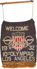 Olympic Collectibles:Autographs, 1932 Olympics Welcome Banner....