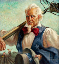 JOHN STEVENS COPPIN (American, 1904-1986) Uncle Sam at Work, 1943 Oil on canvas 24 x 22 in. Si