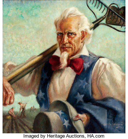 JOHN STEVENS COPPIN (American, 1904-1986)Uncle Sam at Work, 1943Oil on canvas24 x 22 in.Signed and dated lower r...