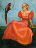 Pin-up and Glamour Art, BRADSHAW CRANDELL (American, 1896-1966). Lady in Red. Oil oncanvas. 40 x 30 in.. Signed lower left. ...