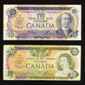 Canadian Currency: , BC-49d $10 1971;. BC-54a $20 1979.. ... (Total: 2 notes)