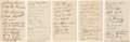 Autographs:Index Cards, 1937-41 Various Team Signed Index Cards Lot of 5....