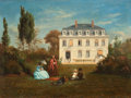 19th Century European:Landscape, CHARLES JEAN MERCIER (French, 1809-1909). In the Garden,1850. Oil on canvas. 13-1/2 x 18 inches (34.3 x 45.7 cm). Signe...