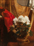 Fine Art - Painting, European:Antique  (Pre 1900), BLAISE ALEXANDRE DESGOFFE (French, 1830-1901). Still Life withPotted Flower. Oil on canvas. 12-3/4 x 9-3/4 inches (32.4...