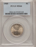 Liberty Nickels, 1905 5C MS66 PCGS....