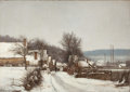 Fine Art - Painting, European:Modern  (1900 1949)  , PROPERTY FROM A DALLAS PRIVATE COLLECTION. ALFRED GARCEMENT(French, 1830-1930). Un Village en Hiver. Oil on canvas.3...