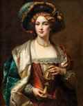 19th Century European:Romanticism, CESARE AUGUSTE DETTI (1847-1914). Portrait of a Noblewoman.Oil on canvas. 37 x 29 inches (94.0 x 73.7 cm). Signed cente...