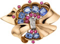 Estate Jewelry:Brooches - Pins, Retro Sapphire, Ruby, Diamond, Gold Clip-Brooch. ...